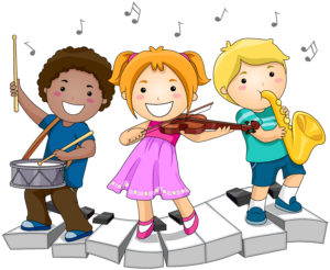 Children playing with Musical Instruments with Clipping Path